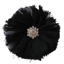 8cm Frayed Diamante BLACK Fabric Flower Applique